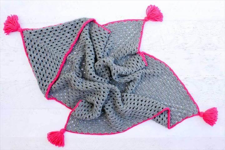 """Granny Gives Back"""" crochet hooded blanket"""