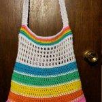 Crochet Rainbow Bright Summer Beach bag