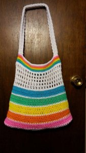Crochet Rainbow Bright Summer Beach bag