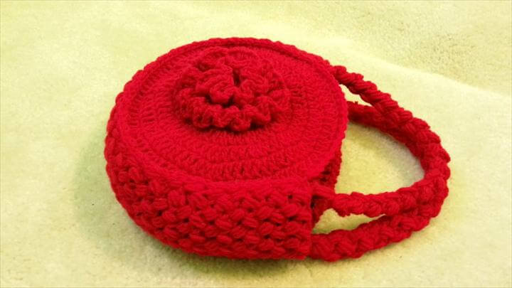 Crochet Flower Handbag Purse