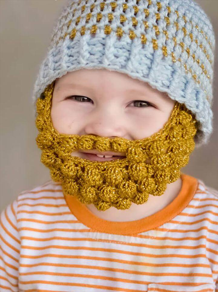 bearded baby, this bobble stitch makes an amazing beard