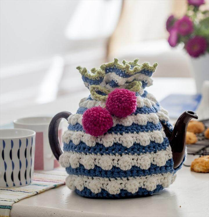 Crocheted tea cosy in the kitchen