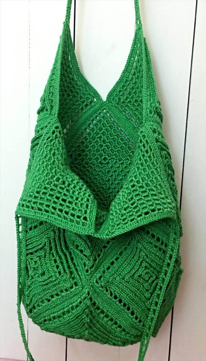 crochet green tote bag pattern