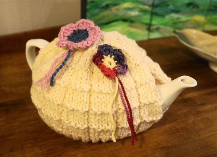 Cute Knitted Tea Cosy with Crochet Flowers