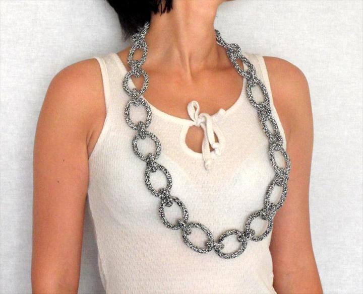chain necklace, crochet necklace