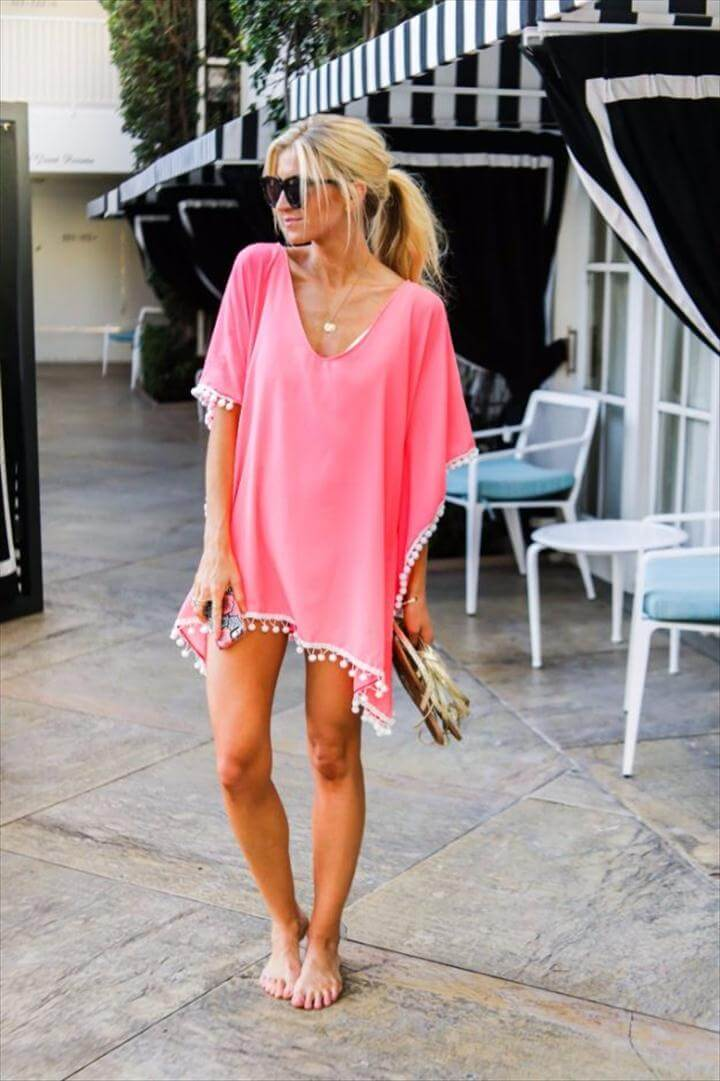 Cool Summer Fashions for Teens - DIY Pom Pom Kaftan - Easy Sewing Projects and No