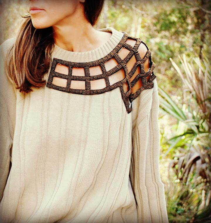 DIY embellished cut-out sweater