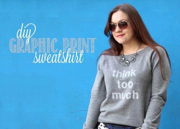 DIY Graphic Print Phrase Sweatshirt
