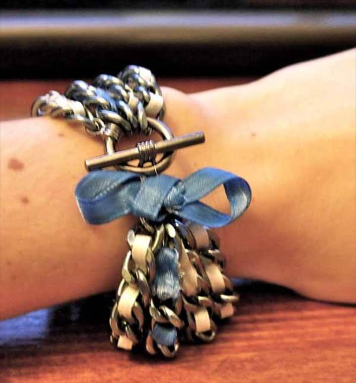 DIY Ribbon & Chain Bracelet