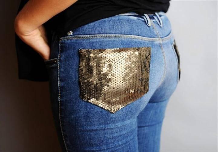 DIY Sequin Pocket Jeans
