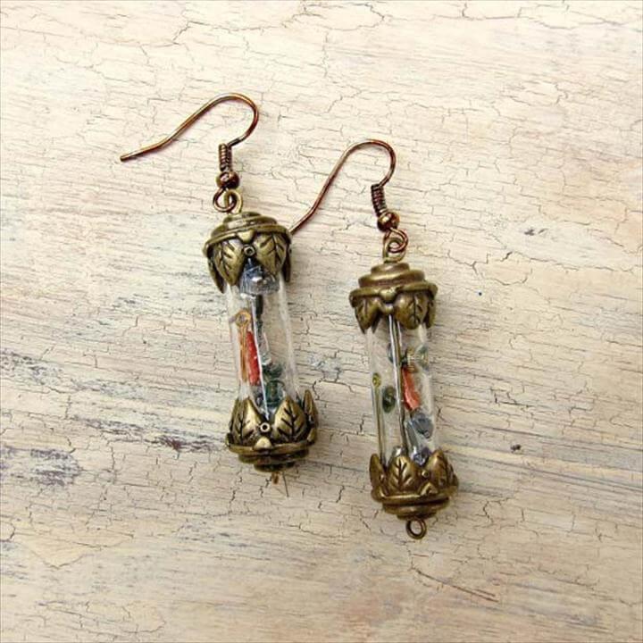 Cool Steampunk DIY Ideas - DIY Steampunk Vial Earrings - Easy Home Decor, Costume Ideas