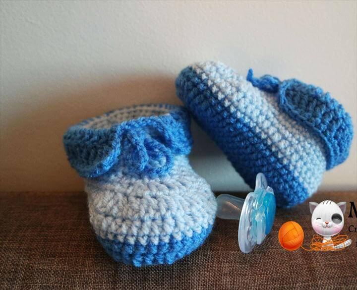 crochet easy baby booties full free pattern