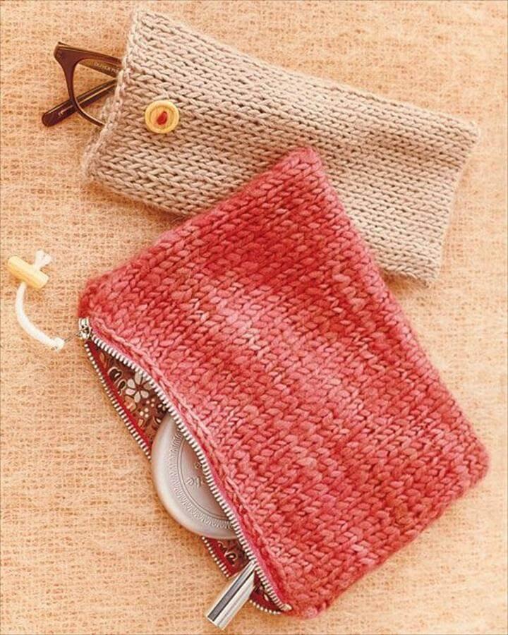 DIY: knit pouches