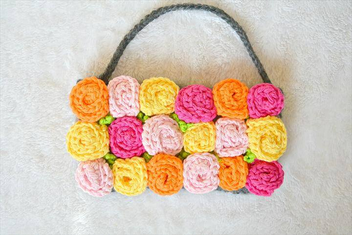 Easy Deco Rose Crochet Purse