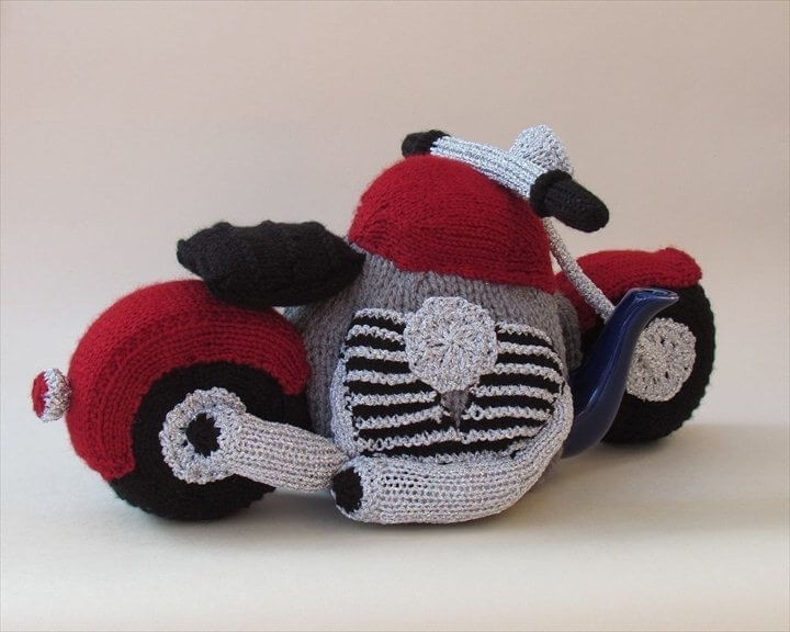 motorbike crochet tea cozy