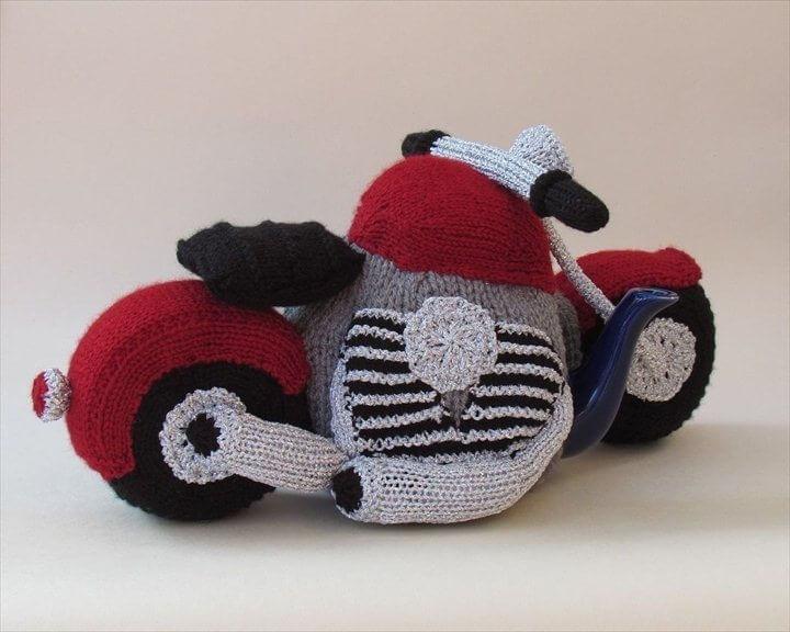 motorbike crochet tea cozy