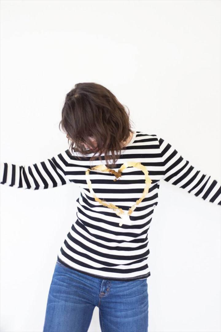 DIY Gold Iron On Foil Heart Shirt