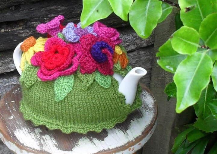 spring flower crochet tea cozy