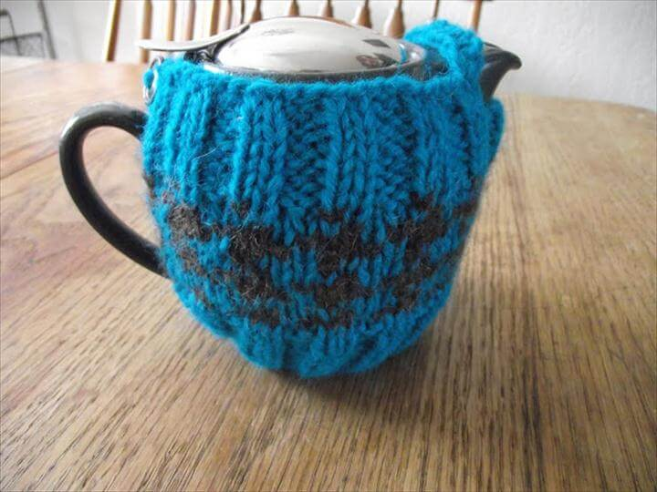 blue crochet tea cozy