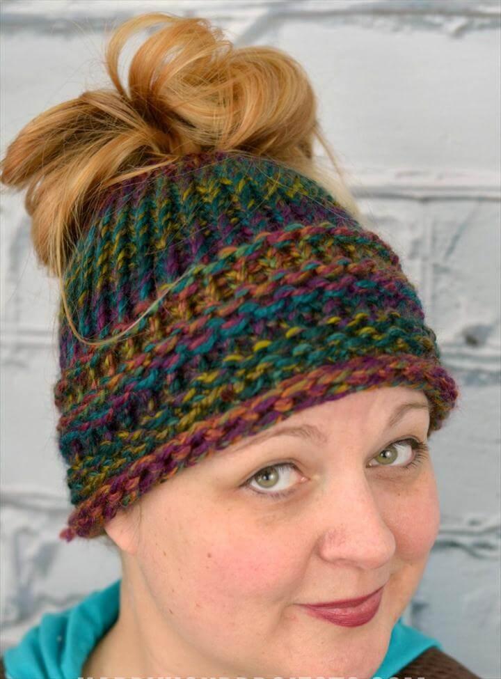 Beginners Messy Bun Hat Using the Loom Knitter