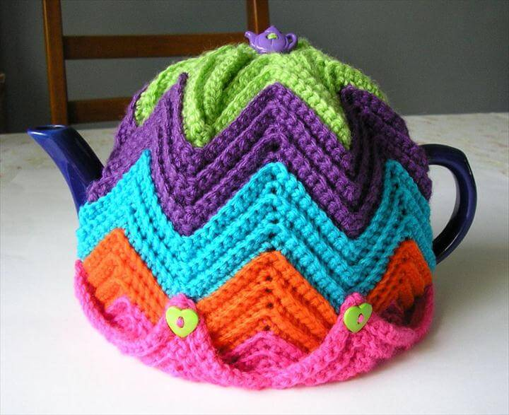 Ripple Crochet Tea Cozy Free Pattern
