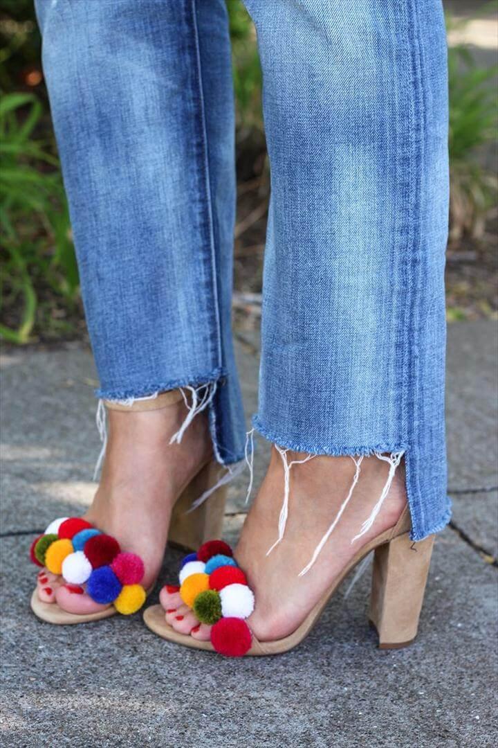 diy fashion, diy pom pom heel