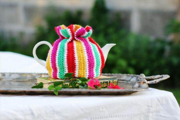 colorful crochet tea cozy