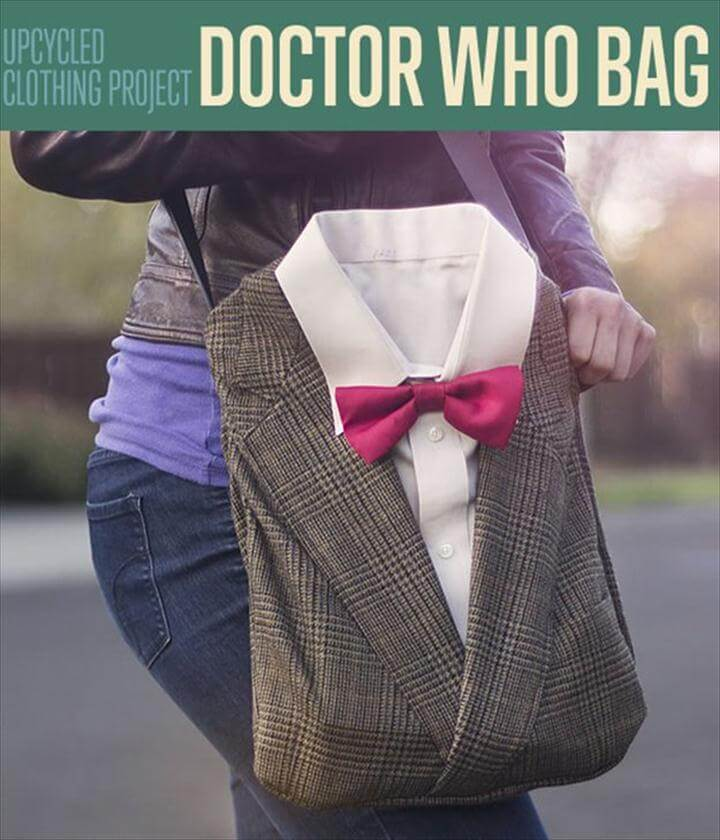 DIY Doctor Who Book Bag from Upcycled Clothing, Personalized Tote Bags