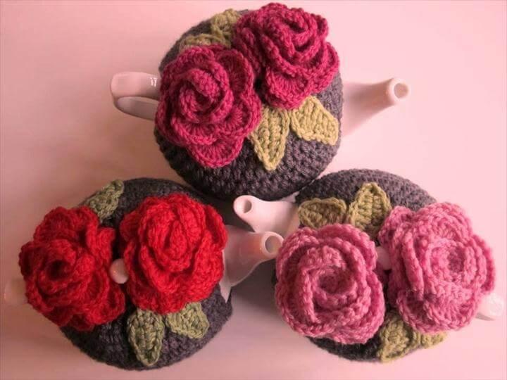 three colors crochet tea cosies