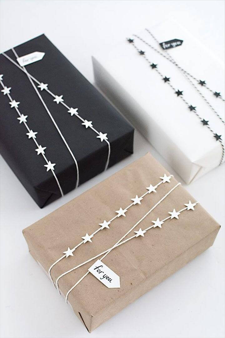 Cool Gift Wrapping Ideas - DIY Star Garland Gift Wrap - Creative Ways To Wrap Presents, DIY Star Garland Gift Wrap
