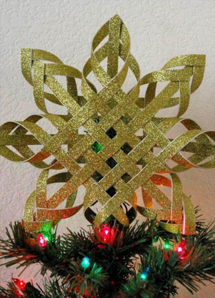 DIY Woven Paper Snowflake Ornaments