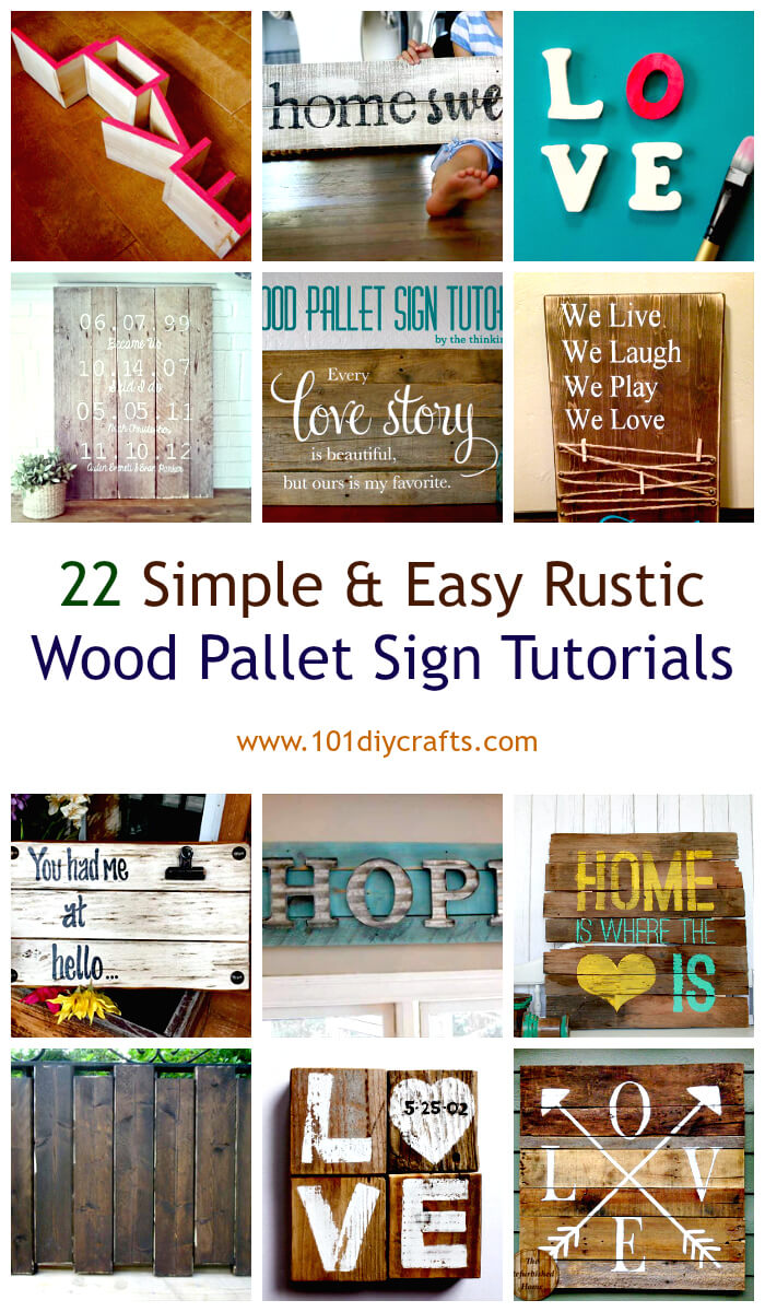 22 Simple & Easy Rustic Wood Pallet Sign Tutorials