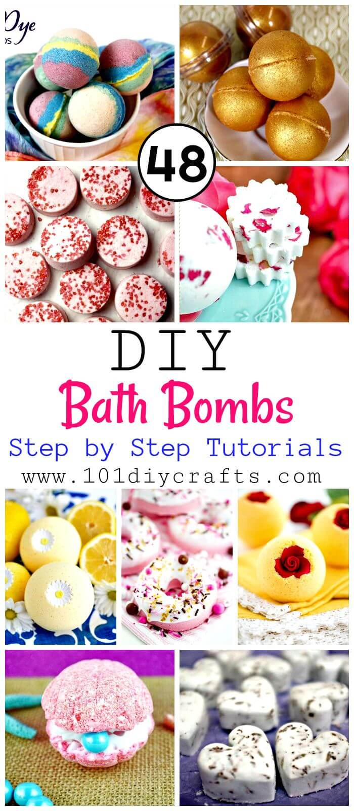48 DIY Bath Bombs with Step by Step Tutorials