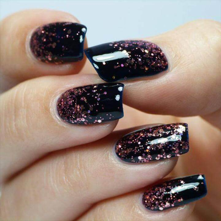 Alluring Glitter Nails with Pink and Black Nail Design