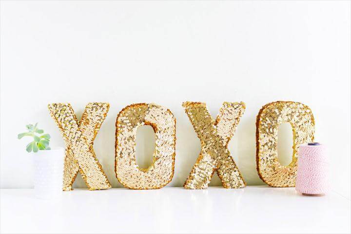 DIY Sequin XOXO Letters for Valentines Day