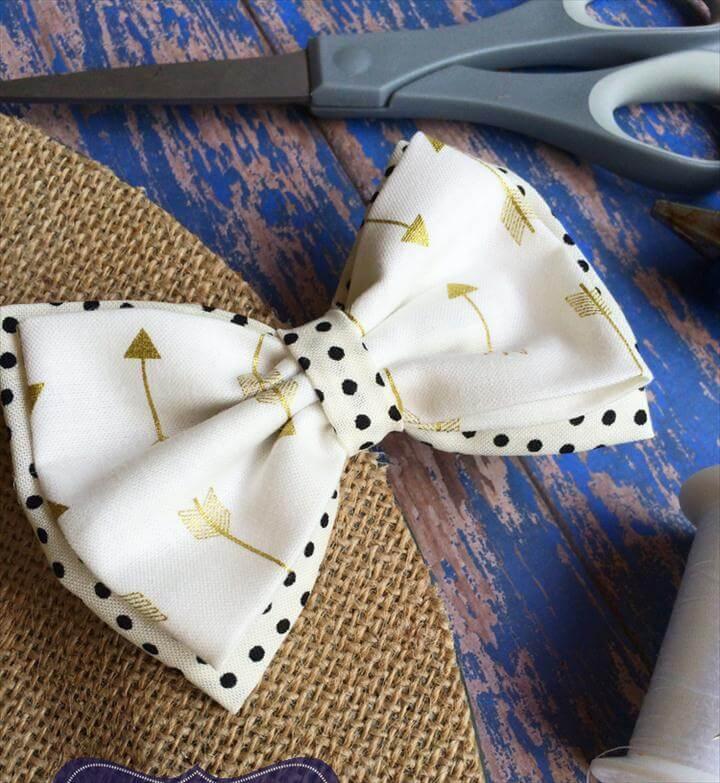 cutest DIY fabric hair bow tutorial, Double layered bow tie