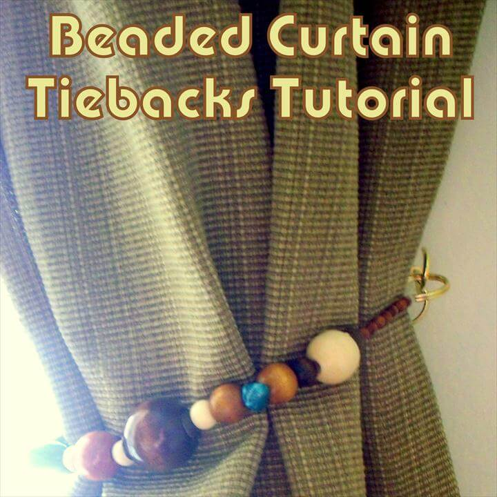 diy beaded curtain tieback