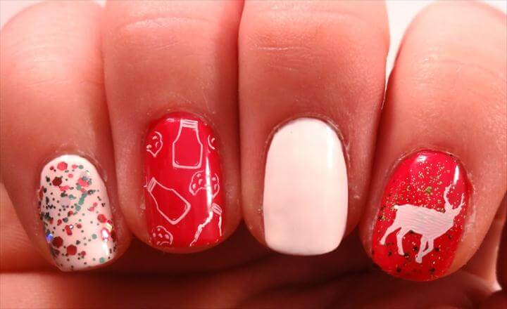 diy christmas nail art with rhinestones