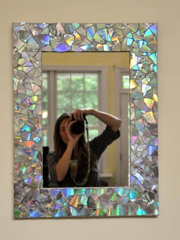 diy mirror design, cd mirror