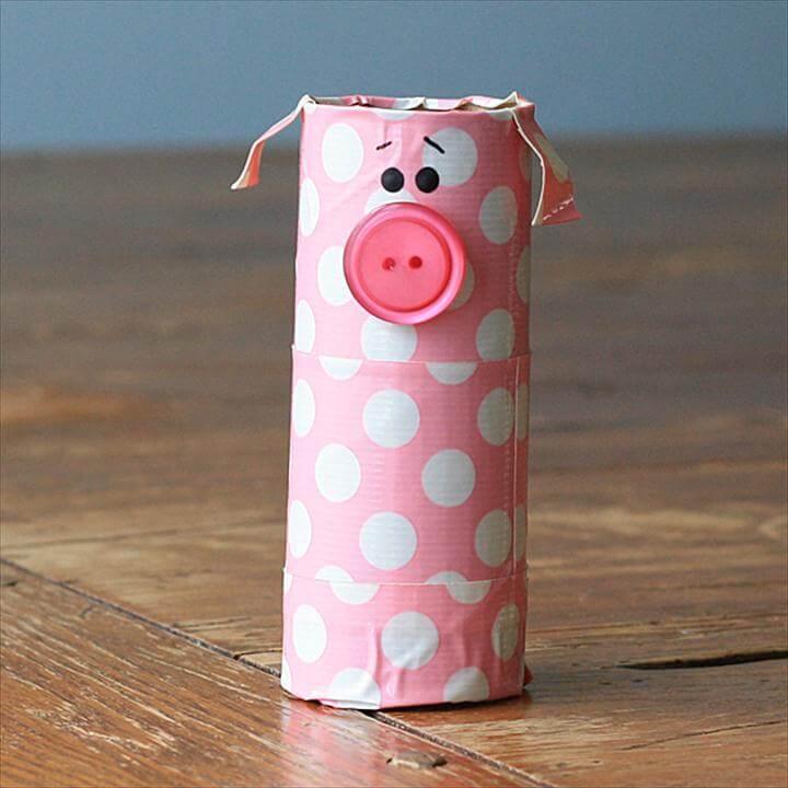 cute little cardboard tube piggy