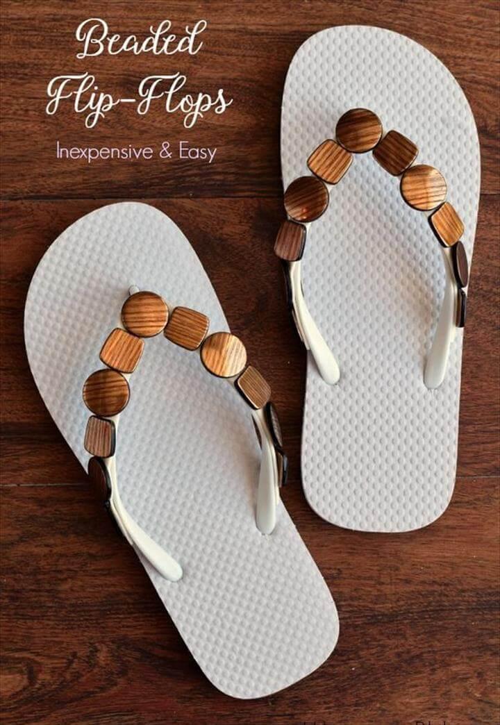 Quick and Easy Beaded Flip Flops