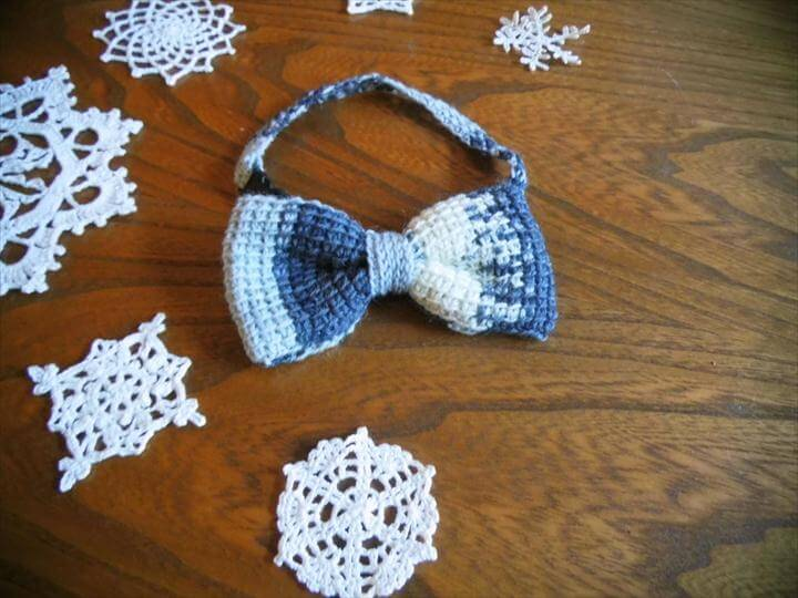 Crochet Bow Tie, Crochet Hair Bow, Crochet Mens Accessory, Dappet Bow Tie, Black and White Bow Tie, Crochet Accessory