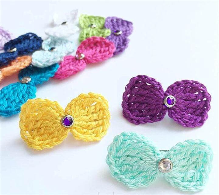 unique Crochet hair bows ideas