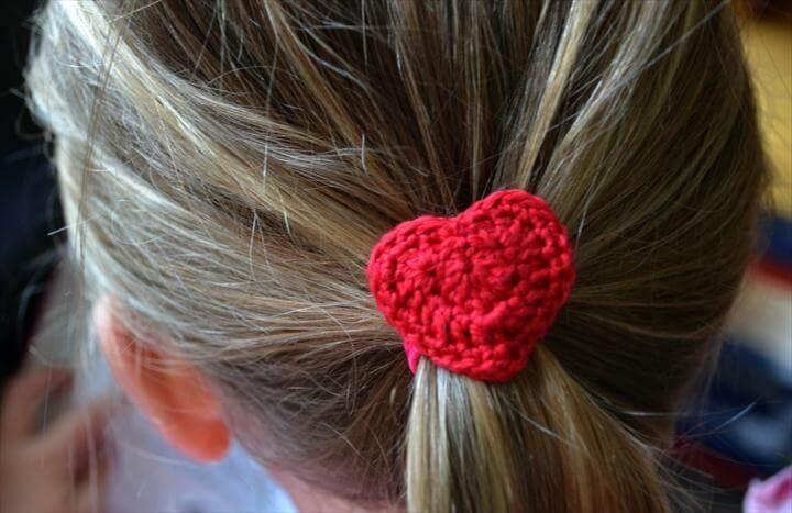 Crochet Heart Hair Tie Free Pattern
