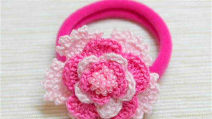 Lovely Crocheted Pink Hair Band
