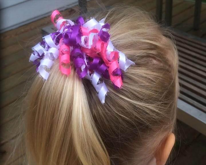 Curly Ribbon Hair Bow! Easy DIY Girl Hair Bow Craft Tutorial! Add Hello Kitty ribbon