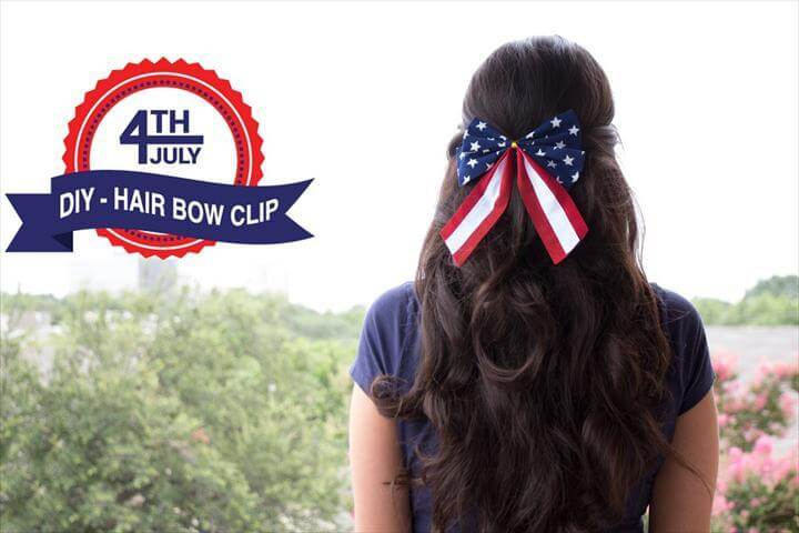 4th of july DIY hair bow clip - Super Easy