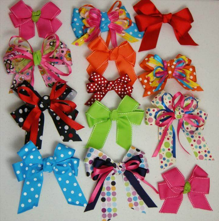 diy bows, colorful hair bows