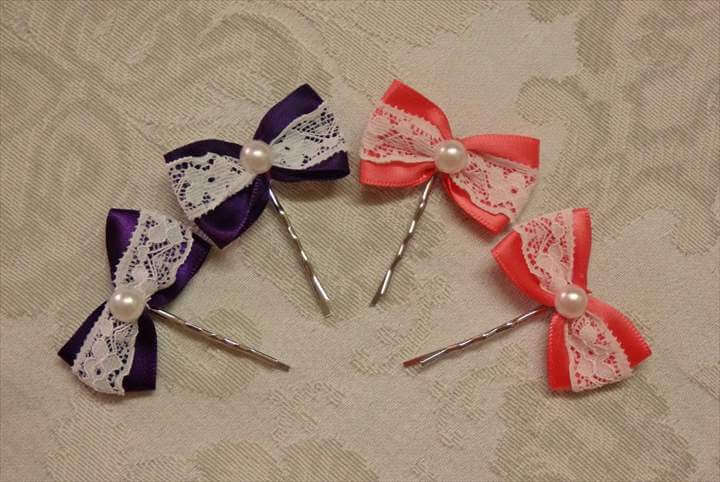 DIY bow hairpins with lace, easy ribbon hairbows tutorial