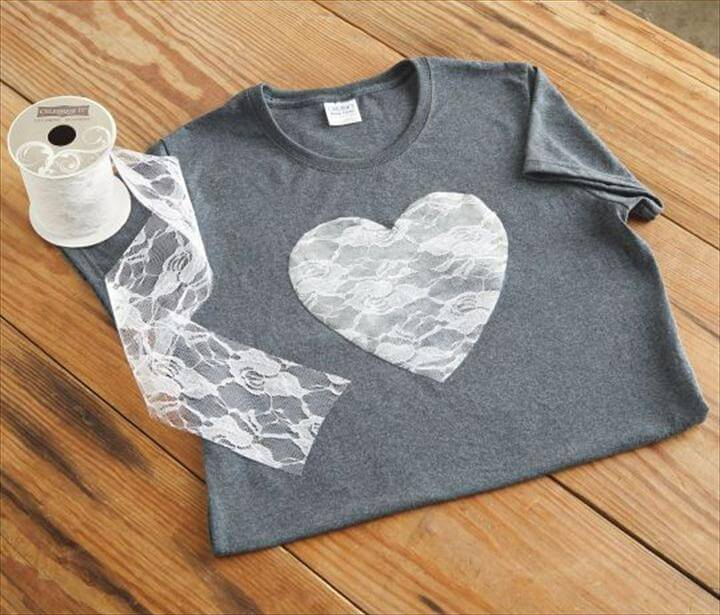 lace heart tshirt